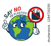 say no to plastic with world... | Shutterstock .eps vector #1284720250