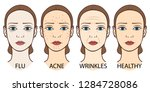 set of woman faces  pale skin ... | Shutterstock .eps vector #1284728086