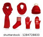 winter red knitted clothes... | Shutterstock .eps vector #1284728833