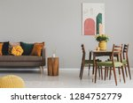 vintage living and dining room... | Shutterstock . vector #1284752779
