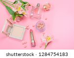 cosmetics and accessories on a... | Shutterstock . vector #1284754183