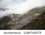 mountain town of namche bazar... | Shutterstock . vector #1284765079