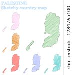 palestine sketchy country.... | Shutterstock .eps vector #1284765100