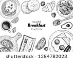 healthy breakfast  frame.... | Shutterstock .eps vector #1284782023
