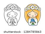 portrait of little cute bride... | Shutterstock .eps vector #1284785863