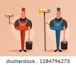 cute worker with roller and... | Shutterstock .eps vector #1284796273