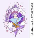little kawaii mermaid  holding... | Shutterstock .eps vector #1284799690