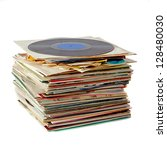 pile of old dusty vinyl records ... | Shutterstock . vector #128480030