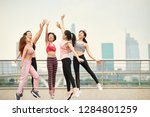 group of laughing asian woman... | Shutterstock . vector #1284801259