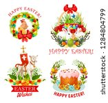 happy easter icons with... | Shutterstock .eps vector #1284804799