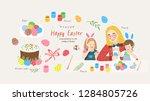 happy easter  cute vector... | Shutterstock .eps vector #1284805726