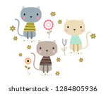 Stock vector card with cute cats and flowers happy cartoon animals on floral background illustration in 1284805936