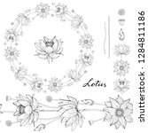 black and white wreath and...   Shutterstock .eps vector #1284811186