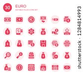 euro icon set. collection of 30 ... | Shutterstock .eps vector #1284814993