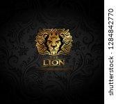 vector emblem with golden lion | Shutterstock .eps vector #1284842770