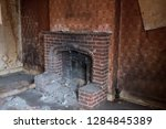 close up of brick fireplace and ... | Shutterstock . vector #1284845389