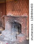 close up of brick fireplace in... | Shutterstock . vector #1284846403