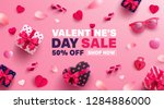 Stock vector valentine s day sale poster or banner with sweet gift sweet heart and lovely items on pink 1284886000