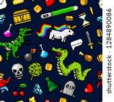 pixel art 8 bit objects...   Shutterstock .eps vector #1284890086