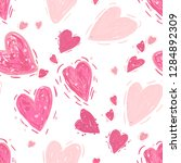 pink hearts. vector seamless... | Shutterstock .eps vector #1284892309