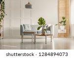 green leaf in white vase on...   Shutterstock . vector #1284894073