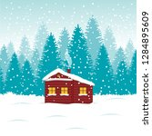 winter house in the forest with ... | Shutterstock .eps vector #1284895609