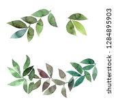 green leaves frame. watercolor... | Shutterstock . vector #1284895903