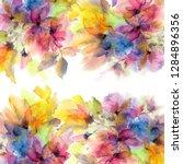 watercolor flowers. floral... | Shutterstock . vector #1284896356