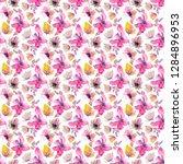 pink flowers seamless pattern.... | Shutterstock . vector #1284896953