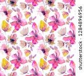 pink flowers seamless pattern.... | Shutterstock . vector #1284896956