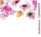 watercolor flowers. floral... | Shutterstock . vector #1284896959
