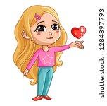 cute girl. the blonde hair girl ... | Shutterstock .eps vector #1284897793