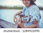 young cute hipster girl playing ...   Shutterstock . vector #1284922090