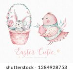 Stock photo hand drawn watercolor happy easter set with bunnies design rabbit bohemian style isolated boho 1284928753