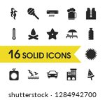 seasonal icons set with vest ...