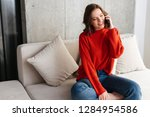 cheerful young casually dressed ... | Shutterstock . vector #1284954586