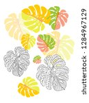 vector tropical pattern with... | Shutterstock .eps vector #1284967129