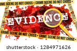 evidence word with magnifying... | Shutterstock .eps vector #1284971626