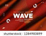 3d poster with wave stripes.... | Shutterstock .eps vector #1284983899