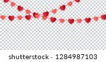 red paper hearts garland for... | Shutterstock .eps vector #1284987103