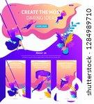 isometric website template... | Shutterstock .eps vector #1284989710