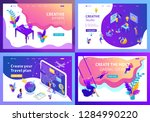 set colorful isometric concept... | Shutterstock .eps vector #1284990220