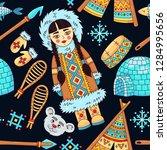 north arctic eskimo doodle...   Shutterstock .eps vector #1284995656