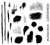 set. black brush strokes  spots ... | Shutterstock .eps vector #1285004836