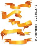 vector gold ribbon collection.... | Shutterstock .eps vector #128501648