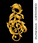 g clef sign  gold baroque style    Shutterstock .eps vector #1285034833