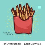 french fries poster with cool... | Shutterstock .eps vector #1285039486