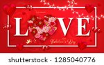 happy valentine's day banner... | Shutterstock .eps vector #1285040776