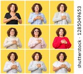 collage of middle age senior... | Shutterstock . vector #1285049653