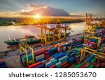 logistics and transportation of ... | Shutterstock . vector #1285053670